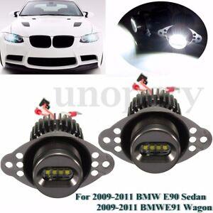 Pair-40W-LED-Angel-Eye-Halo-Ring-Marker-Headlight-Bulb-For-BMW-E90-E91-LCI-09-11