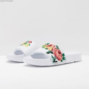 ab605b26 Image is loading FILA-Womens-Drifter-Rose-Embroidery-White-Slide-Sandals