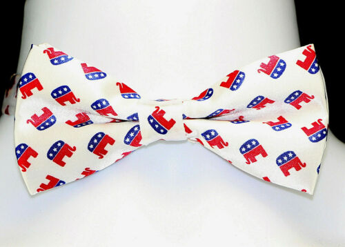 Men/'s Bow Tie Republican Elephant Pre-Tied Adjustable GOP Political White Bowtie