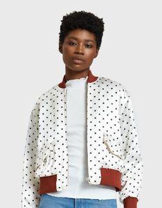 2d49c1b23 Details about NWT Ganni Leclair Satin Polka Dot Bomber Jacket, Size  40/Medium, $405 Retail!