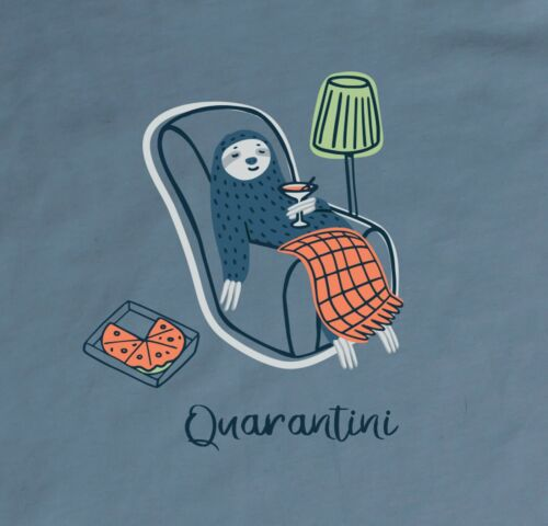 """/""""Quarantini/"""" Sloth T-shirt in Adult Unisex Cotton for /""""Social Distancing/"""""""
