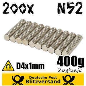 200x-Neodym-Magnet-Scheibe-D4x1mm-N52-magnetisch-Geocaching-starke-Minimagnete