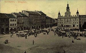 Budweis-eske-Bud-jovice-s-w-AK-1920-30-Blick-auf-den-Ringplatz-Kutschen-Autos