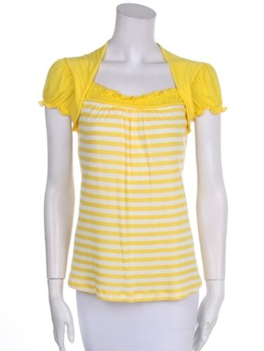 New Women/'s Juniors 100/% Cotton Summer Top Striped Cap Sleeve T-Shirt