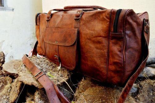 "25/""New Large Vintage Men Real Leather Tote Luggage Bag Travel Bag Duffel Gym Bag"