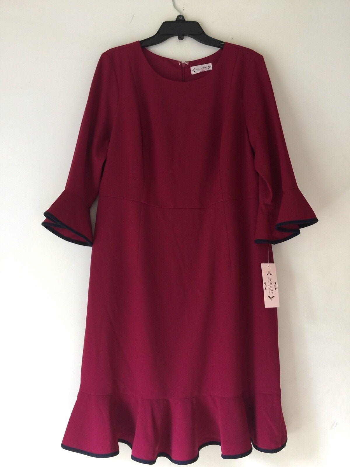 Nanette nanette Lepore Three-Quarter Sleeve Flounce Dress. Größe 16.