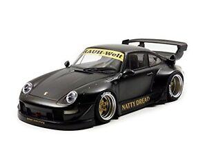 Autoart Porsche Rwb 993 1:18 Voiture Modélisme Noir Mate Avec Or Roues F/s W/