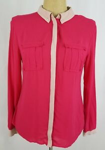 Maeve-Anthropologie-Pink-Size-8-Women-039-s-Top-Shirt-Long-Sleeve-Button-Down