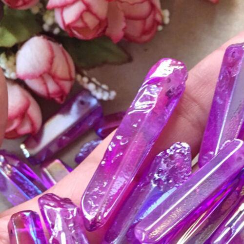 Rare Natural Purple Aura Lemurian Seed Quartz Crystal Stones Point Specimen SM