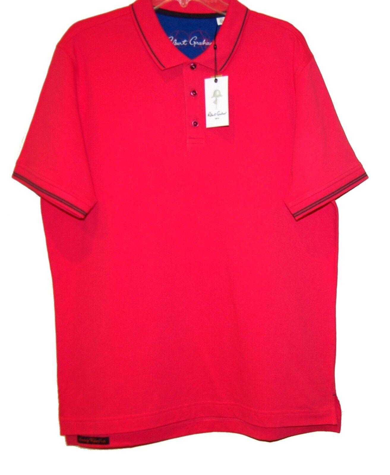 Robert-Graham  Hot Pink  Men's Polo Shirt Cotton Sz XL NEW