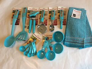 Aqua Blue Kitchenaid Turquoise 17 Piece Utensil Set Can Opener ... Ice Kitchenaid Can Opener on t-fal can opener, best can opener, toucan can opener, food network can opener, softworks can opener, side can opener, electric can opener, red can opener, henckels can opener, imperial can opener, fissler can opener, panasonic can opener, black and decker can opener, manual can opener, sharp can opener, le creuset can opener, disney can opener, rimless can opener, bodum can opener, conair can opener,
