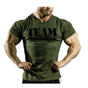 4452c38d Image is loading MENS-VINTAGE-MILITARY-GREEN-COTTON-BODYBUILDING-T-SHIRT-