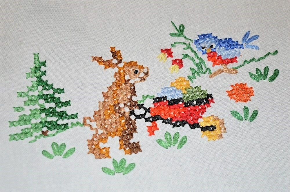 EASTER BUNNY & SPRING BIRD COMPANION  VTG GERMAN HAND TABLECLOTH 2 Couleur CROCHET