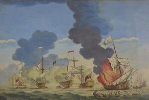 Ancienne Gravure Rehaussé En Couleur Bataille Naval 18ème