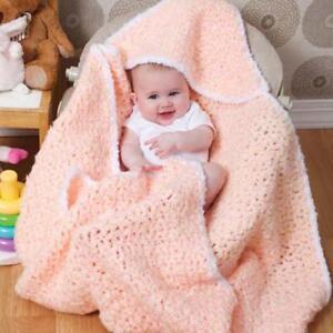 Hooded Baby Blanket In Super Chunky Wool Easy Crochet Pattern Ebay