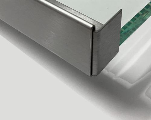 Berühmt Edelstahl Regenrinne für Glasvordach Einfassprofil b=18 mm 1.4301 FC53