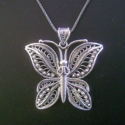 Sterling Silver Filigree Butterfly Pendant with Chain