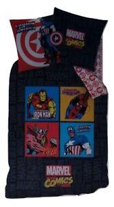 Marvel-Avengers-Captain-America-Spiderman-Thor-Wende-Bettwaesche-Set-135-x-200-cm