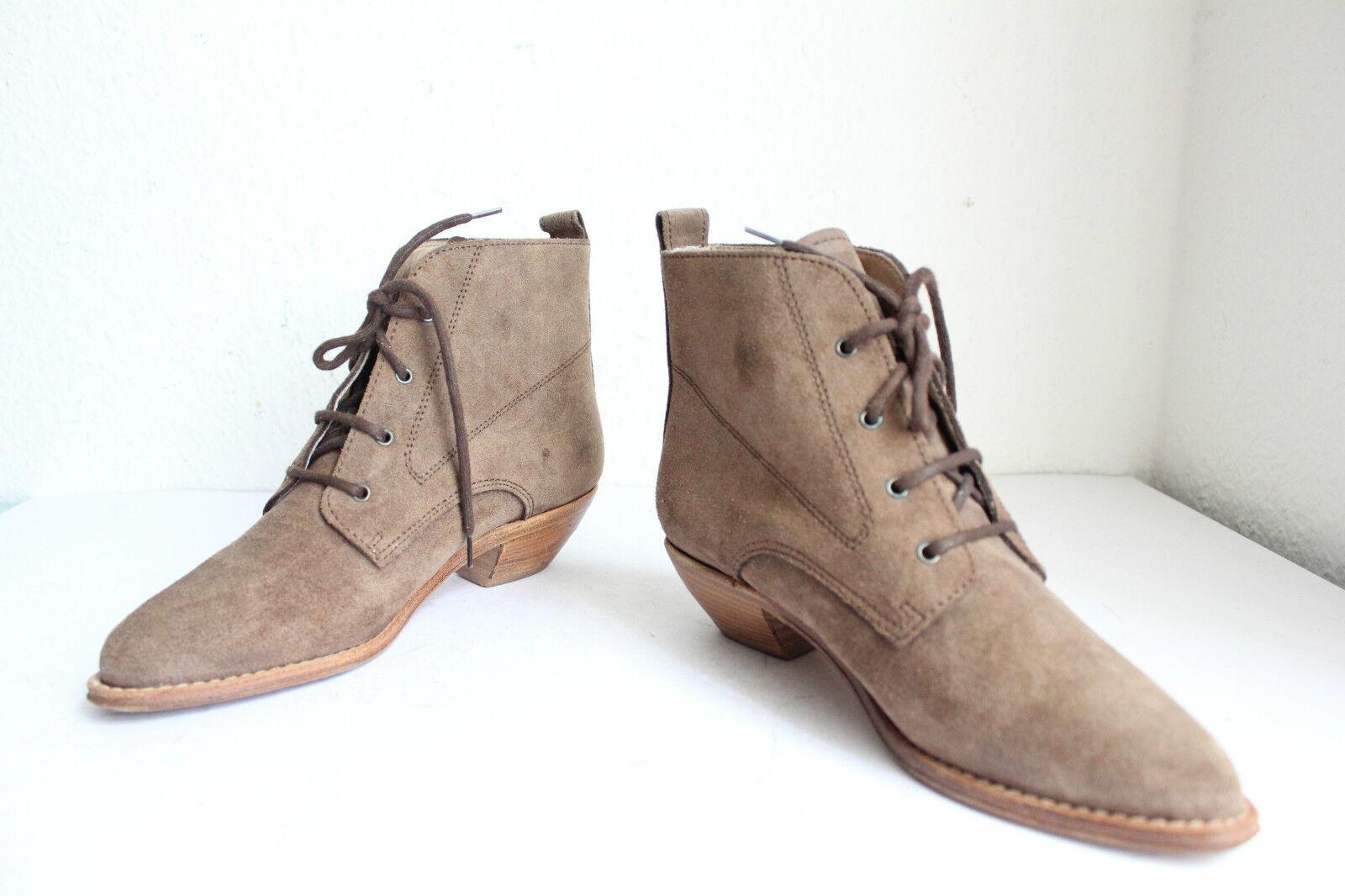 Campos botas marrón vaqueras plenamente schnürstiefeletten cuero genuino marrón botas tonos eu:37-37, 5 8088f9