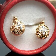 Cute Round Gold Bead ZIRCON Women Hoop Earrings 18k Gold Plated Earring
