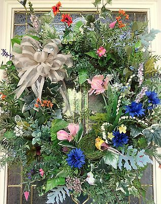 "Spring Summer Floral Door WREATH DIVA ""Papa Bird"" Mother's Day Enchanted Series"