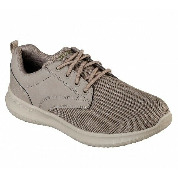Skechers DELSON FONZO Mens Leather Textile Casual Comfy Low Top Trainers Taupe