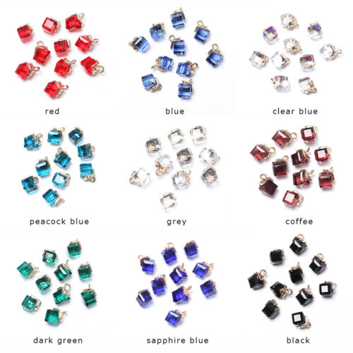 14Colors Cube Glass Loose Beads Square Shape 2mm Hole Glass Spacer Beads Jewelry
