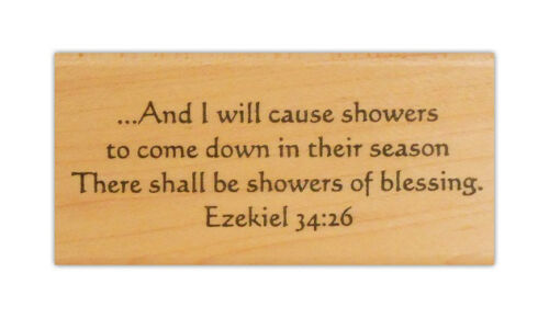 Ezekiel 34:26 Showers of Blessings mounted rubber stamp bible verse CM5