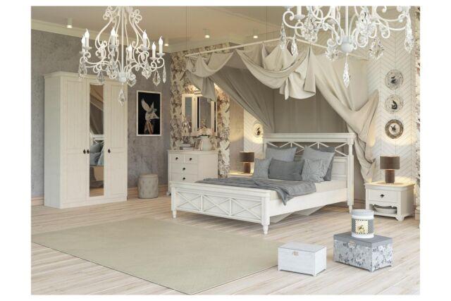 Landhausstil Schlafzimmer Komplett Amelie 6-Teilig Creme Weiß