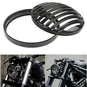 """5 3/4"""" Aluminum Headlight Guard Grill Cover For Harley Sportster XL Dyna Softail"""