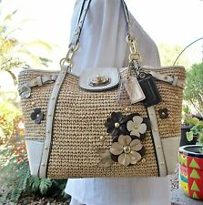 Coach Vintage Ltd. Edition Hamptons Weekend Floral Applique Straw & Leather Tote