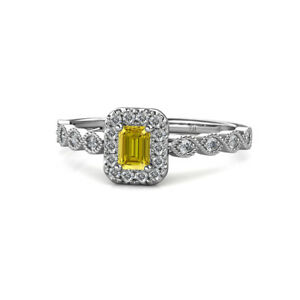 Emerald-Cut-Yellow-Sapphire-amp-Diamond-Engagement-Ring-0-74ctw-14K-Gold-JP-154836