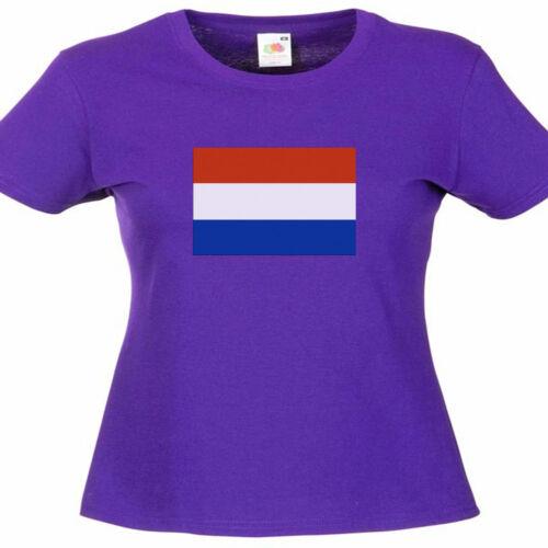 Holland Dutch Flag Ladies Lady Fit T Shirt 13 Colours Size 6-16