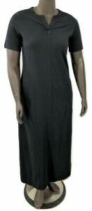 New-35-Value-Denim-amp-Co-Size-PXS-Black-Sht-Slv-V-neck-Perfect-Jersey-Maxi-Dress
