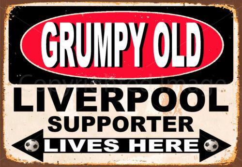 Vieux Grincheux Liverpool partisan Lives Here Métal Tin Signe Affiche Plaque Murale