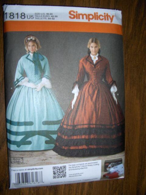 Civil War New Simplicity 1818 U5 Pattern Size 16-24 Ball Gown