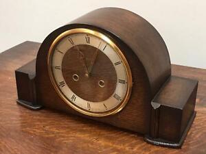 Art-Deco-Smiths-Enfield-Oak-Cased-Striking-Mantel-Clock-6550