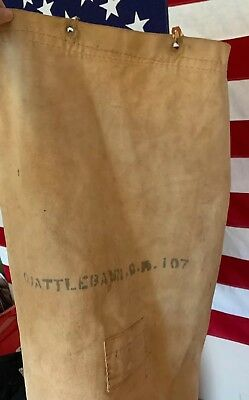 098b22ef277 Vintage 40s WWII USN US NAVY Stencil Heavy White Canvas Seabag Duffle Bag.