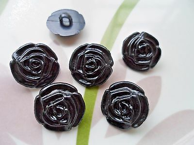 35pcs Buttons Victorian Rose Flower Sewing Craft Cardmaking Pearly Black 15mm