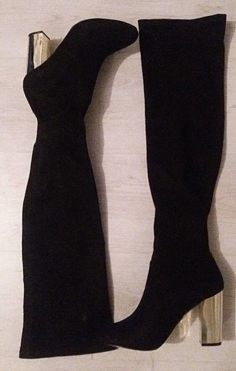LIPSY UK 4  / EU 37 QUALITY BLACK SUEDE MIRROR HEEL KNEE HIGH BOOT  @ NEXT