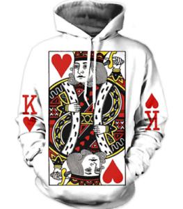 New Red King Hart 3D Hoodies Sweatshirt white Men Women Fashion Size S 6XL