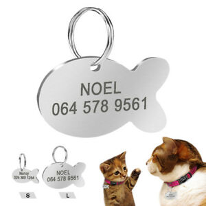 Stainless-Steel-Cat-Tag-Free-Engrave-Fish-Shape-Cat-Dog-ID-Name-Phone-Engraved