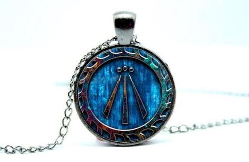 Druida símbolo-Awen-Gunmetal Negro Tono Foto Collar Colgante de cúpula de vidrio