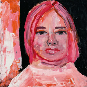 Original Portrait Painting 6x6 Mixed Media Collage Wall Art Katie Jeanne Wood