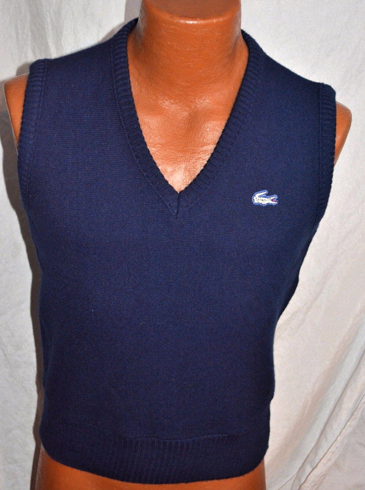 Vintage 1970s Izod Lacoste Mens Sweater Vest Adult 34 white LOGO  SUPERB unisex