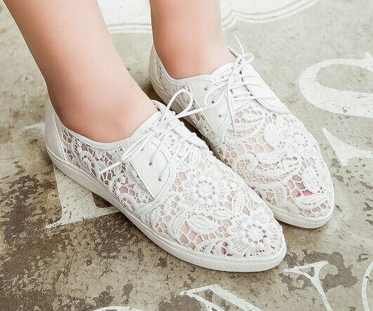 Bailarinas mocasines zapatos mujer de tacón mujer zapatos 2 cm blanco encaje perforado cómodo 7dd814