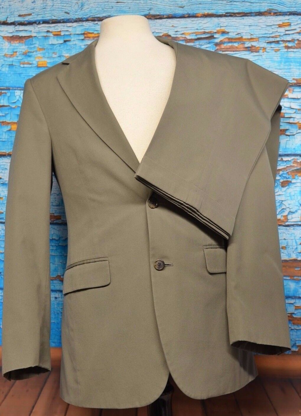 Brooks Bredhers 1818 Sz 36 R Suit Olive Lined Cotton Poly Two Button Single Vent