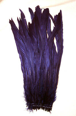 "25 Regal Purple Rooster Coque Tail Feathers Bleached & Dyed  12-14"" L"