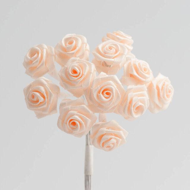 Miniature Ribbon Rose Flower - 19 Colours Cards Favours Crafts Embellishment