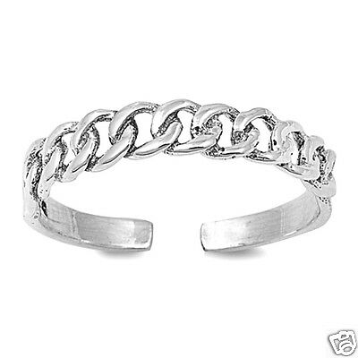 Adjustable Curb Chain Toe Rings Sterling Silver 925 Fashion Beach Jewelry Gift